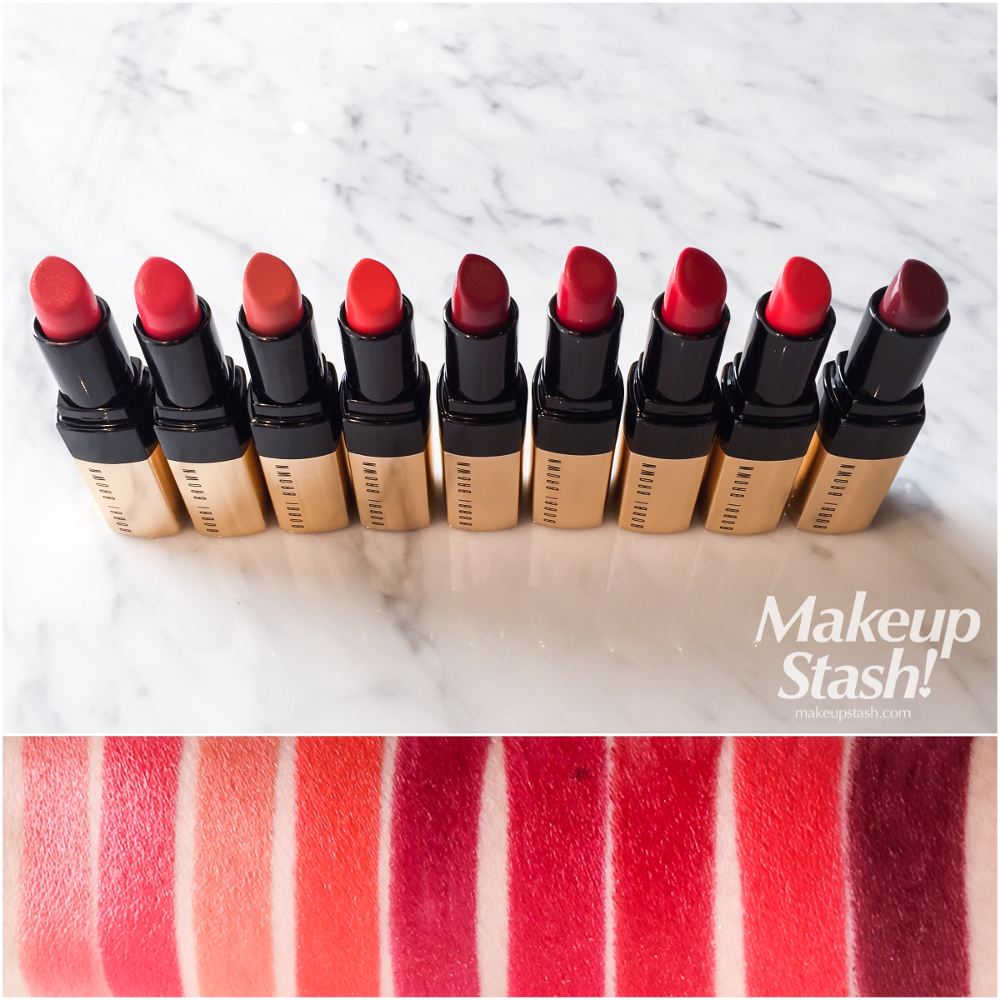 Bobbi Brown Luxe Lip Color in 20 Retro Coral, 21 Pink Guava, 22 Baby Peach, 23 Atomic Orange, 25 Russian Doll, 26 Retro Red, 28 Parisian Red, 29 Sunset Orange, 30 Your Majesty Swatches