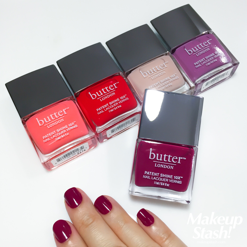 Butter London Patent Shine 10X Nail Lacquer Vernis in Jolly Good, Smashing, Shop Girl, Fancy and Broody