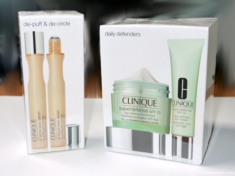 Clinique De-Puff & De-Circle and Daily Defenders Travel Exclusive Sets + Review | Clinique All About Eyes Serum, Superdefense Age Defense Eye Cream and Superdefense Age Defense Moisturizer