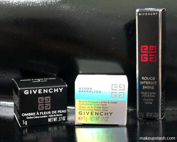 Review | Givenchy Ombre  Fleur de Peau Luminescent Cream Eyeshadow in Pearly Nude, Rouge Interdit Shine in Delicate Brown and Hydra Sparkling Magic Lip &amp; Cheek Balm