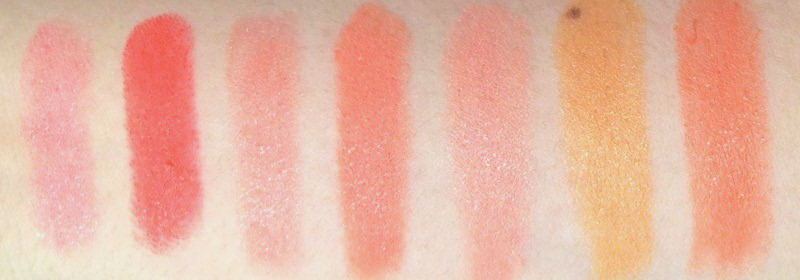 MAC Flamingo, Neon Orange, Razzledazzler, Sushi Kiss, Sweet and Sour, Tangerine Dream, Tart and Trendy Swatches