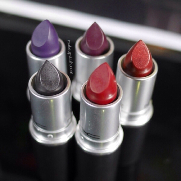 MAC Lipsticks in Punk Couture, Haute Core, Instigator, Studded Kiss and Carnal Instinct