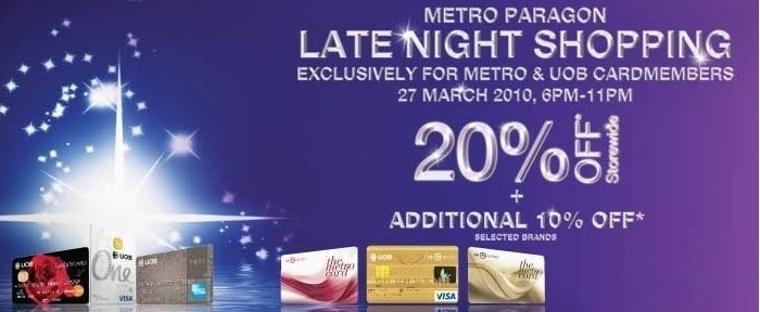 Metro Late Night Shopping Special for Metro and UOB Card Members