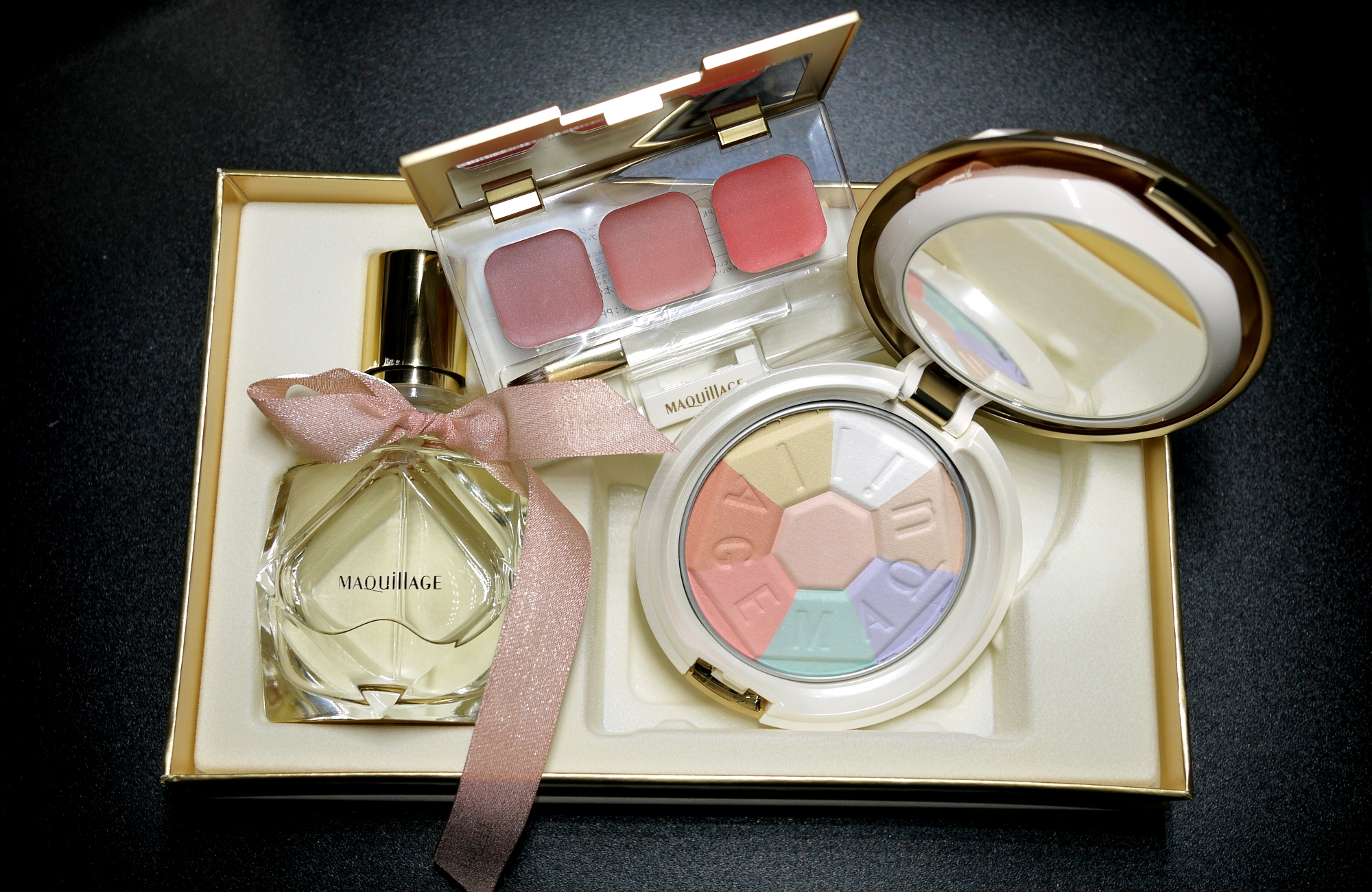 Shiseido Maquillage Aura Veil Collection Fragrance, True Rouge Lip Palette, Aura Veil Compact