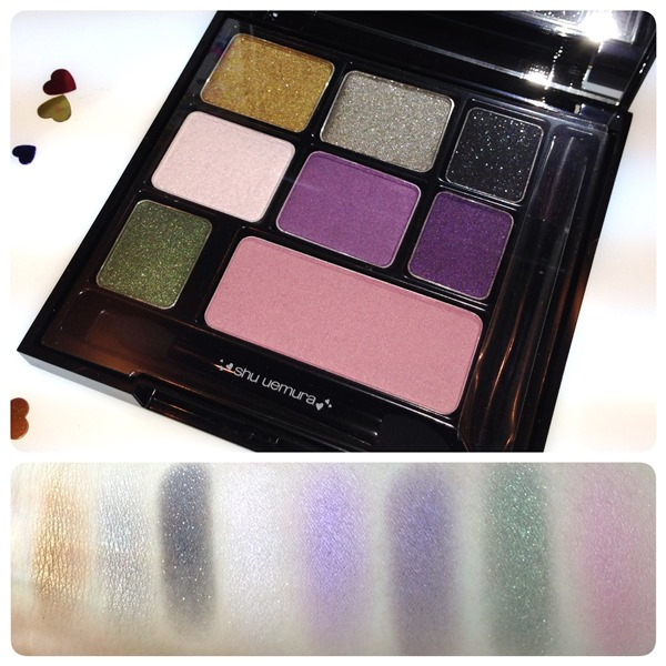 Takashi Murakami for Shu Uemura 6 Heart Princess Enchanted Black Parallel Eye and Cheek Palette Swatches